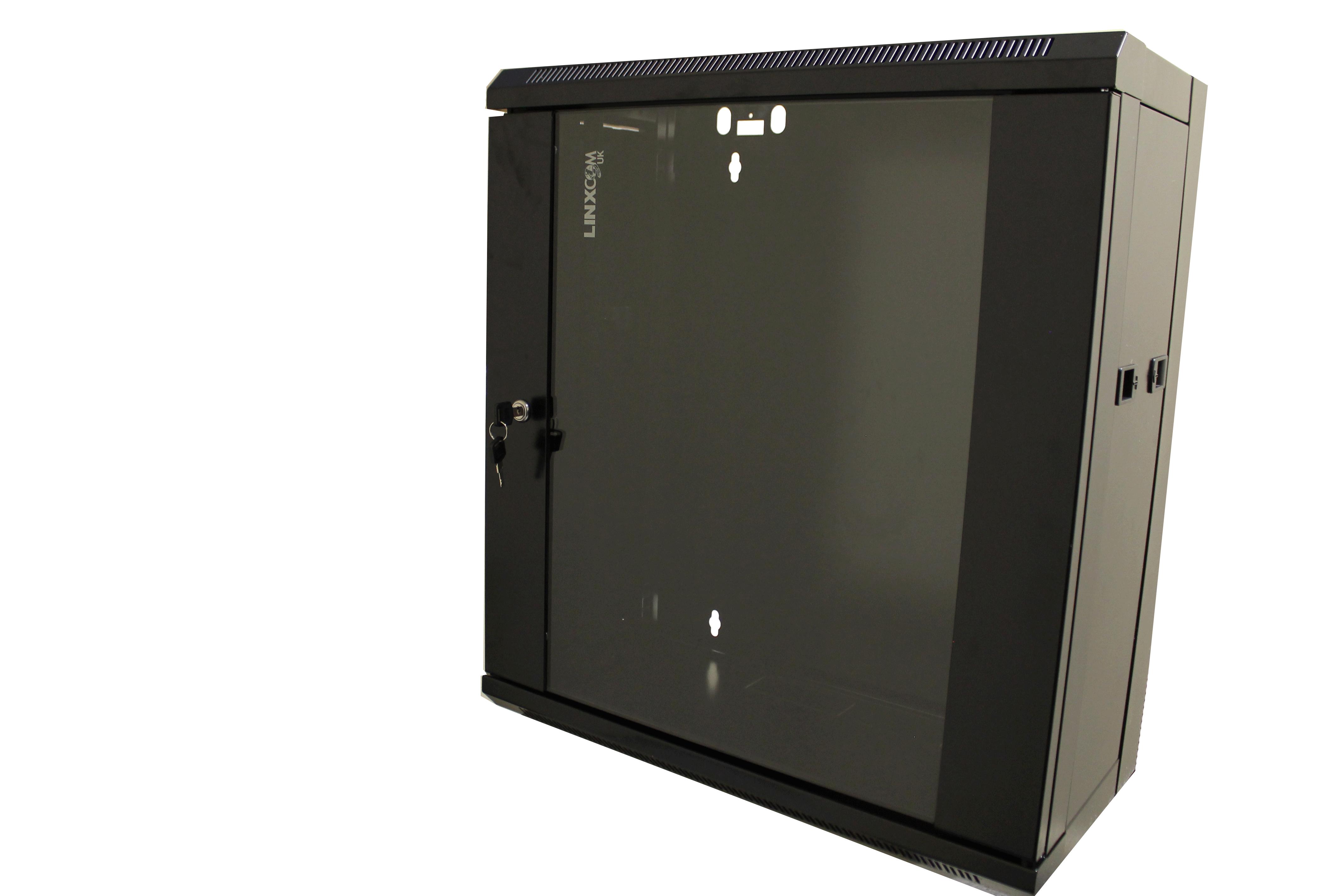 "12U 19"" Network Cabinet Rack Wall Mounted 570 300mm Black"