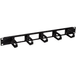 "1U 19"" Rack Mount Plastic 5 Ring Cable Management Bar"