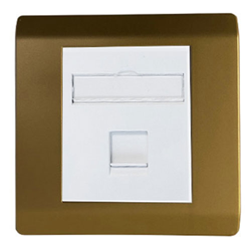 rj45 utp5e single gang socket faceplate gold