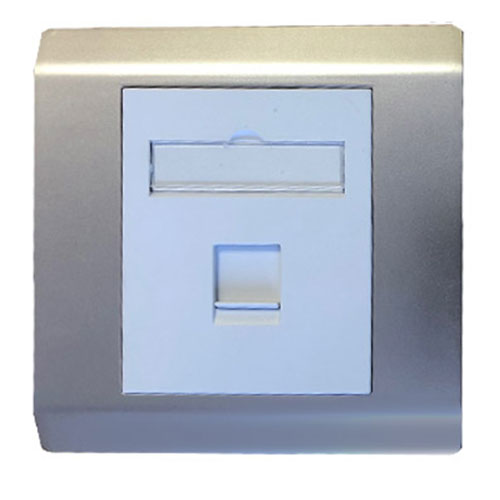 rj45 utp5e single gang socket faceplate sliver